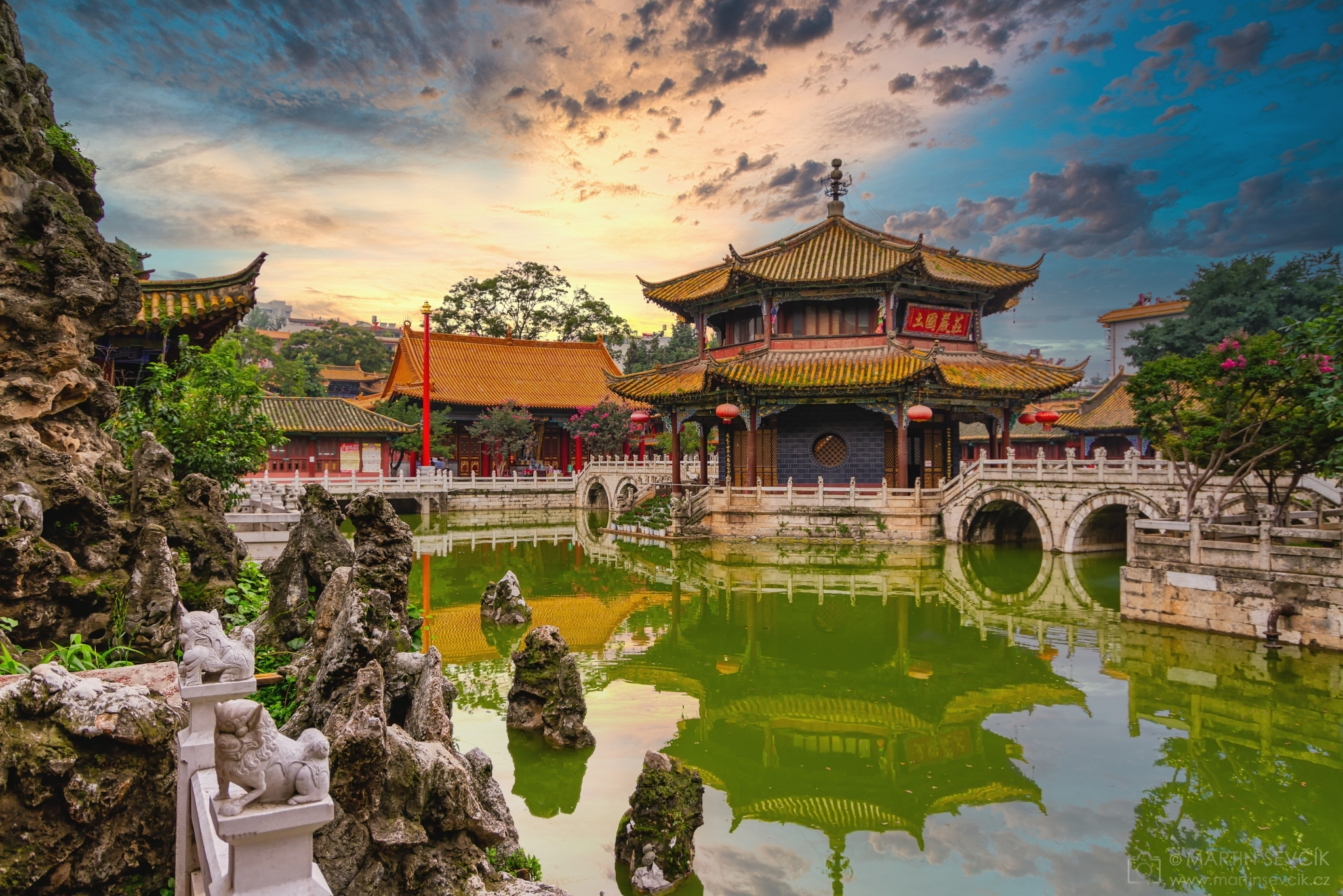Yuantong Ancient Buddhist Temple in the Gardens of Eternal Spring at Dusk - Kunming, China
